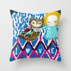 owl and girl love Throw Pillow