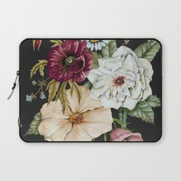 Colorful Wildflower Bouquet on Charcoal Black Laptop Sleeve