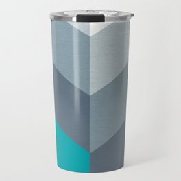 Vertical Chevron Pattern - Teal, Coral and Dusty Blues #geometry #minimalart #society6 Travel Mug