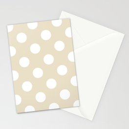Large Polka Dots - White on Pearl Brown Stationery Cards
