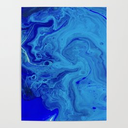 All the Blues, Abstract Fluid Acrylic Art Print Poster