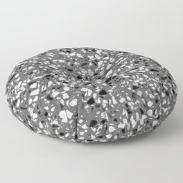 Dark Grey Monochrome Speckles Terrazzo Pattern Stone Effect Floor Pillow