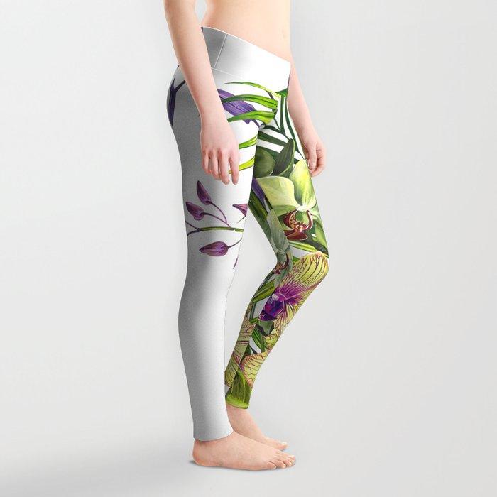 Bouquet, Orchid, Bud, Leaf Clipart, watercolor, handpainted, floral, flower, design, style, troical Leggings