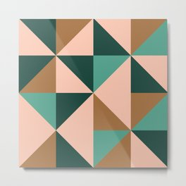 Retro Triangles in Blush Pink, Gold, and Teal Metal Print