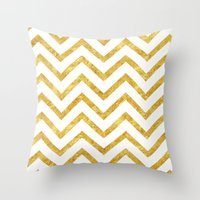 gold foil Throw Pillows featuring Gold Foil Chevron by NeoQlassical