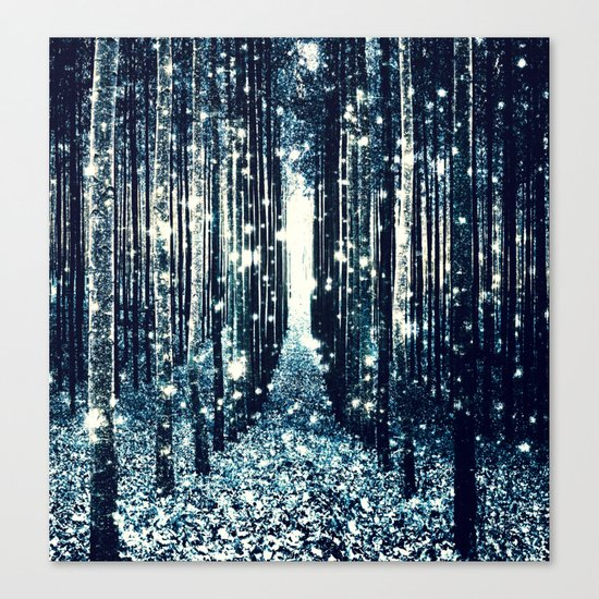 Magical Forest Teal Gray Elegance Canvas Print