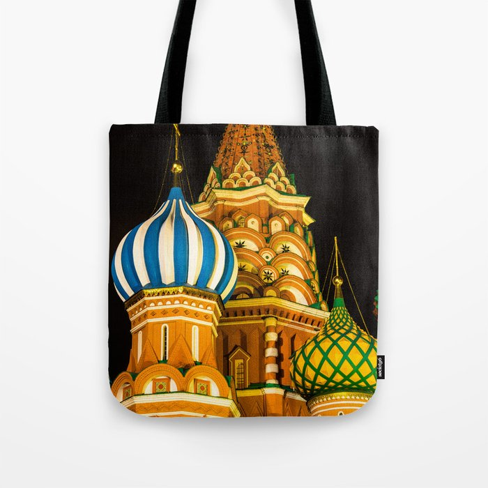 Domes of St. Basil's Cathedral on red square Tote Bag