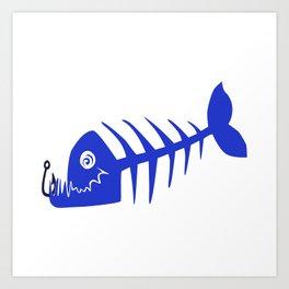 Pirate Bad Fish blue- pezcado Art Print