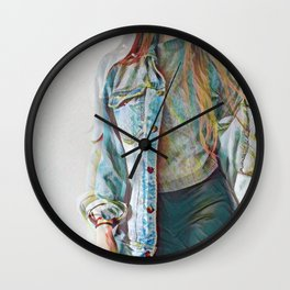 Denim Jacket Girl Wall Clock