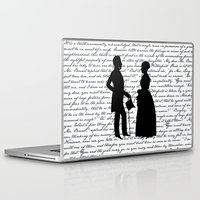pride and prejudice Laptop & iPad Skins featuring Pride and Prejudice design - White by Evie Seo