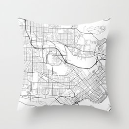 Burnaby Map, Canada - Black and White Throw Pillow