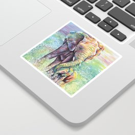 Colorful Mother Elephant and Baby Sticker