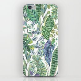 Watercolor green exotic leaves. iPhone Skin