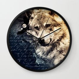Vintage wolf, Mixed media Wolf Art, Wolf Painting, Wolf Decor, Best Wolf, Cool, Wolf Wall Clock
