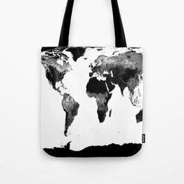 World Map  Black & White Tote Bag
