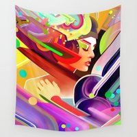 60s Wall Tapestries featuring Neon Dreams by AlexToothArt