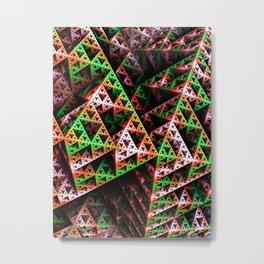 Pink & Green 3D Sierpinski Triangle Fractal Art Print Metal Print