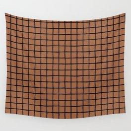Geometric raster minimal raw brush strokes grid pattern copper Wall Tapestry
