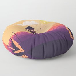 VECTOR ART LANDSCAPE WITH FIRE LOOKOUT TOWER Floor Pillow
