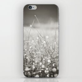 Morning Dew Nature Photography, Sparkle Bokeh Grass, Sepia Sparkly Photograph iPhone Skin