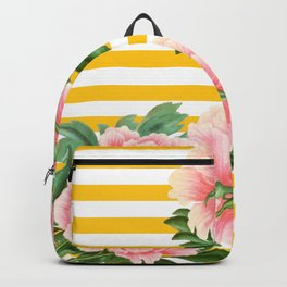 Pink Peonies Yellow Stripes Backpack