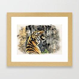 Tiger roar Woodblock Style Framed Art Print