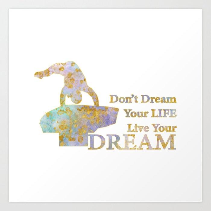 Live Your Dream Gymnastics Design in Watercolor and Gold Kunstdrucke