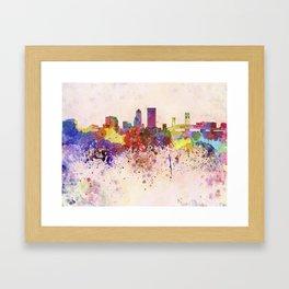 Jacksonville skyline in watercolor background Framed Art Print