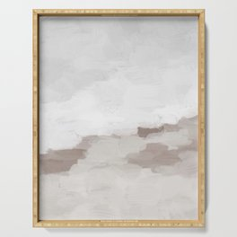 Desert Storm Gray Clouds Beige Sandy Dunes Desolate Abstract Nature Painting Art Print Wall Decor  Serving Tray