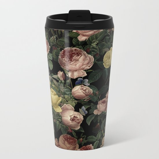 Vintage Roses and Iris Pattern - Dark Dreams on #Society6 Metal Travel Mug