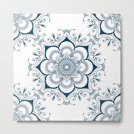 Mandala in Indian Ink - Blues & White - Boho - Festival Gear Metal Print