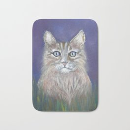 CUTE YOUNG TABBY CAT GREY BEIGE CHALK PASTEL DRAWING Bath Mat