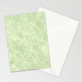 Lime Green Silk Moire Pattern Stationery Cards