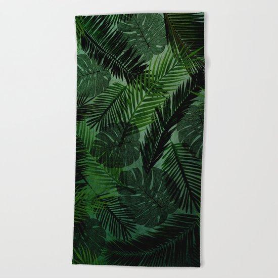 Green Foliage Beach Towel