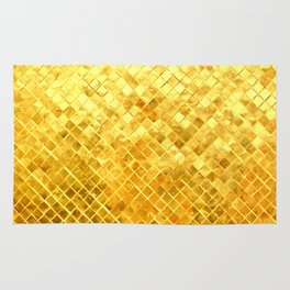 Give me Gold: festive, golden, fashionable, 3-d, glittery, Christmas, cheerful, lattice design Rug