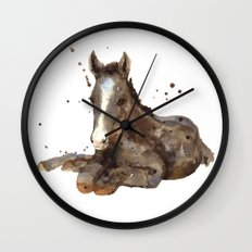 Horse painting, watercolor horse, horses Wall Clock