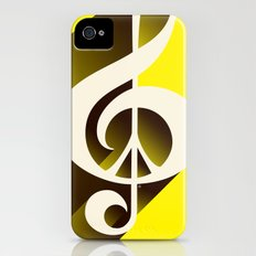 Yellow Retro Shadow Music & Peace Slim Case iPhone (4, 4s)