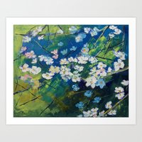 cherry blossoms Art Prints featuring Cherry Blossoms by Michael Creese