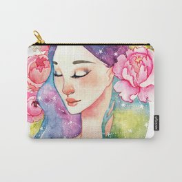 Unearthly supernatural girl with space in the hair. Virgo constellation. Carry-All Pouch