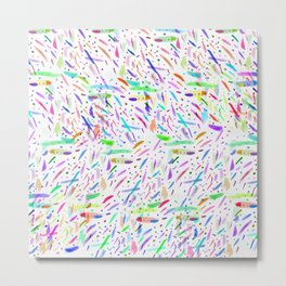 Modern colorful watercolor abstract brushstokes Metal Print