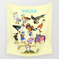 ducks Wall Tapestries featuring Ducks by Natelle Quek