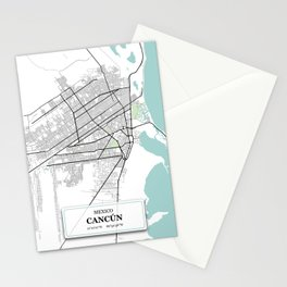 Cancun,Mexico City Map with GPS Coordinates Stationery Cards