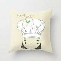 chef Throw Pillows featuring hello chef by Hello Sunwoo