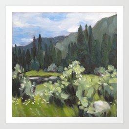 wyoming pond and pines Art Print