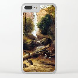 John Skinner Prout Bush landscape with waterfall and an Aborigine stalking native animals, New South Clear iPhone Case