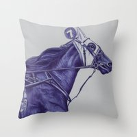 sport Throw Pillows featuring Sport Horses by Tosasmok