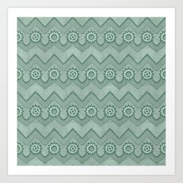 Chevrons and Sprockets - Mint Green Repeating Pattern Art Print