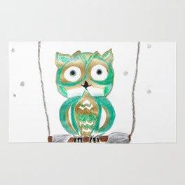 Owl Fun #1 #mint #green #gold #drawing #decor #art #society6 Rug