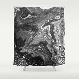 Izumi - spilled ink marble landscape abstract painting handmade art print texture black and white Shower Curtain