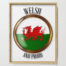 Welsh Proud Flag Button Serving Tray